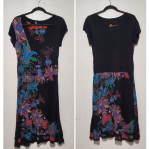 Desigual black dress floral paisley cherry blossom